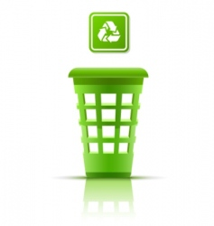 green garbage basket with indicator vector image vector image