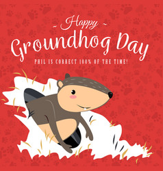 Happy groundhog day design with cute marmot stand vector
