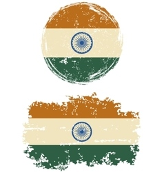 Indian round and square grunge flags vector