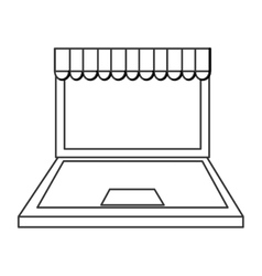 Laptop computer shopping store icon vector image