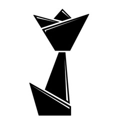 origami tulip icon simple black style vector image