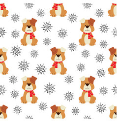 Pattern with dog in red scarf vector