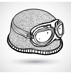 Retro motorcycle helmet and goggles vector image