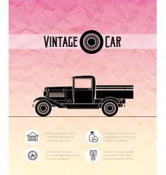 Retro pickup truck car vintage outline style vector
