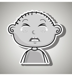 Sad crying cartoon of little boy over white vector