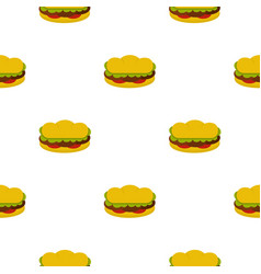 Sandwich with meat patties pattern seamless vector