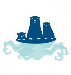 sea otter family vector image