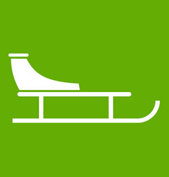 Sled icon green vector