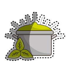 Sticker organ food with pot kitchen and leaves vector