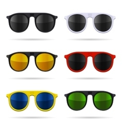 Sunglasses Set with Color Glasses on White vector image