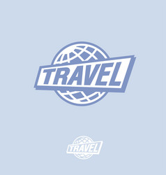Travel logo blue globe and letters vector