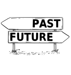 Two arrow sign drawing of past or future decision vector