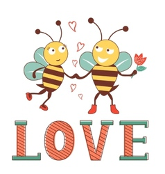 Valentines day card with bees in love vector image vector image