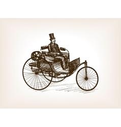 Vintage gentleman drive car sketch vector image vector image