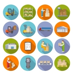 Warehouse Icons Flat Set vector image vector image