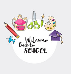 Welcome back to school doodle clip art vector