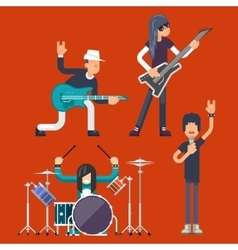 Hard rock heavy folk group band music icons vector