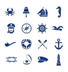 Nautical Icon Set In Blue vector image
