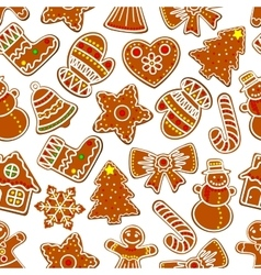Christmas festive ginger cookie seamless pattern vector
