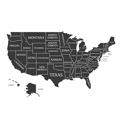 Usa map with federal states black vector