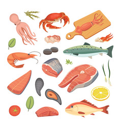 Seafood set flat fresh fish vector