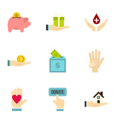 Donation icons set flat style vector
