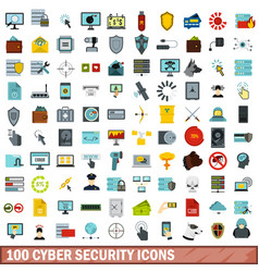 100 cyber security icons set flat style vector