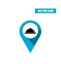 Blue map pin - tray with lid icon isolated on vector
