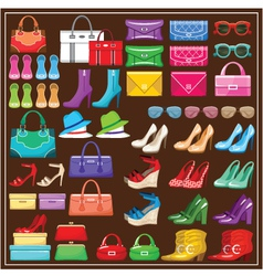 Image of a set shoes handbags and accessories vector