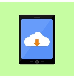 Flat style touch pad with cloud uploading vector