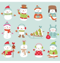 Set of 11 cute and funny snowmen vector