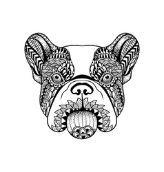 Zentangle stylized french bulldog face hand drawn vector