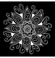Black and white hand drawn flower vector
