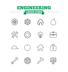 Engineering linear icons set thin outline signs vector