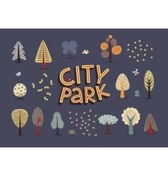 City park set dark vector image