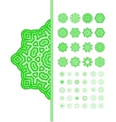 Green mandala ornament set vector image