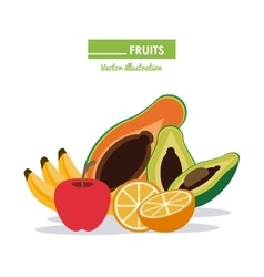 Fruits icon set healthy food design vector