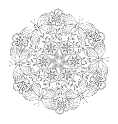 Mendie Mandala with butterflies and flowers vector image