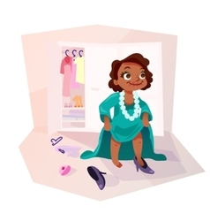 African american girl wearing moms clothes vector