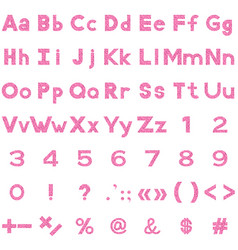 Alphabet numbers and signs valentine vector