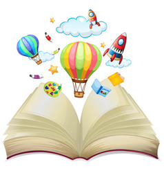 Balloons and rockets in the book vector