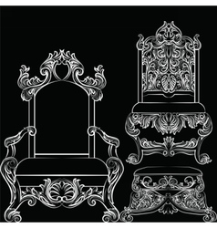 Baroque luxury style furniture set vector image vector image
