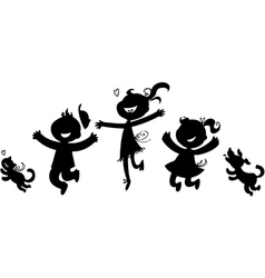 Black silhouettes of happy children vector image vector image