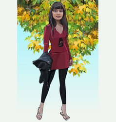 Cartoon slender woman standing with a jacket in vector