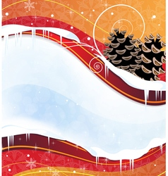 Christmas background with pine cones vector