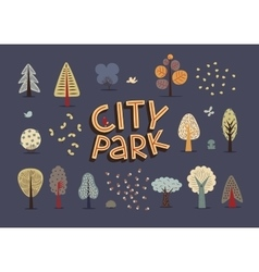 City park set dark vector image vector image