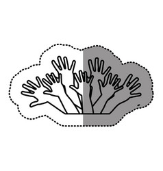 Contour hands up together icon vector