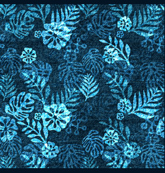 Denim exotic leaf seamless pattern faded vector