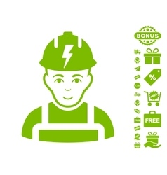Electrician icon with free bonus vector