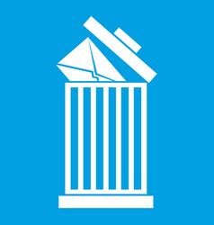 Envelope in trash bin icon white vector